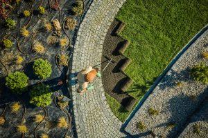 Paysagiste professionnel installant des gazons d'herbe naturels