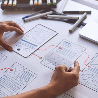 ux Graphic designer creative  sketch planning application process development prototype wireframe for web mobile phone . User experience concept.